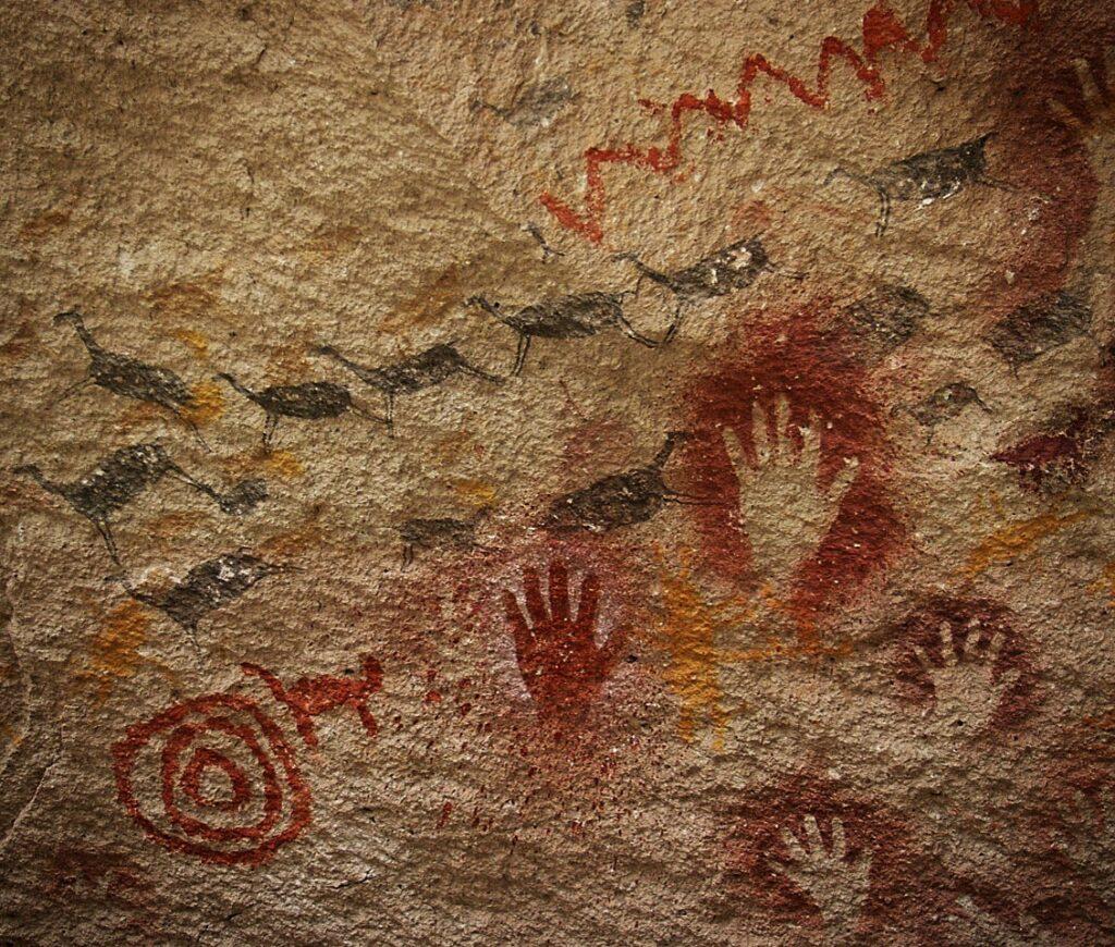 Cave paintings in Cueva de las Manos Wordld Heritage Site - Patagonia National Park Argentina.
